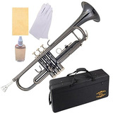 Glory Black Nickel Con Flores Grabadas, Brass Bb Trompeta C