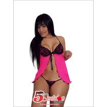 Baby Doll Negro Copa Prenda Intima Sexy Y Sensual + Tanga