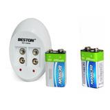 2 Baterias Recargable Cuadrada 9v 250mah+cargador Doble Best