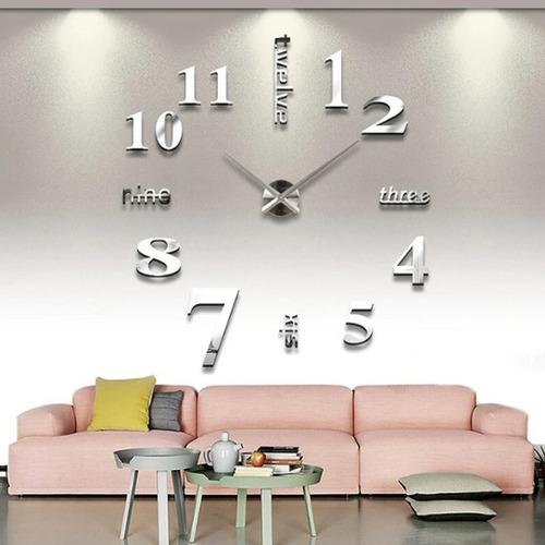 e1412c2bc4b6 Reloj Pared Negro O Dorado Moderno 3d Hogar Regalo