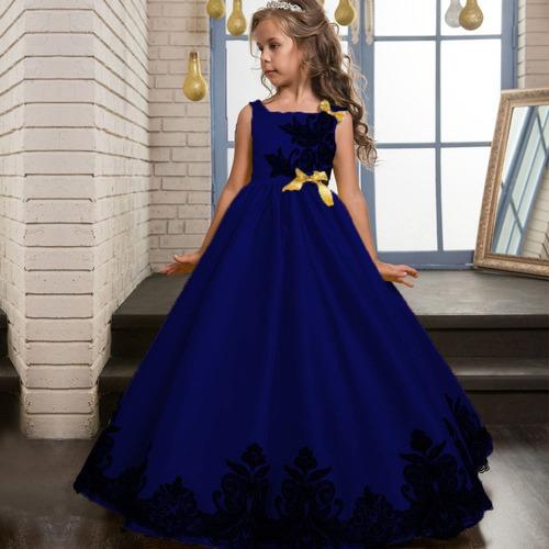 f607681ee Vestido Niña Largo Fashion Princesa Fiesta Flower Disponible