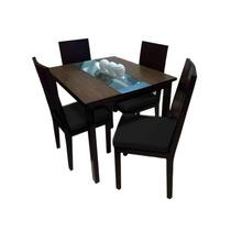 Juego De Comedor Diseños & Muebles 4 Puestos - Negro