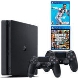 Playstation 4 Slim, 2 Controles + Fifa 19 + Gta V + Envío