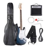 Guitarra Eléctrica De Tamaño Azul/blanco + 10w Amplificador