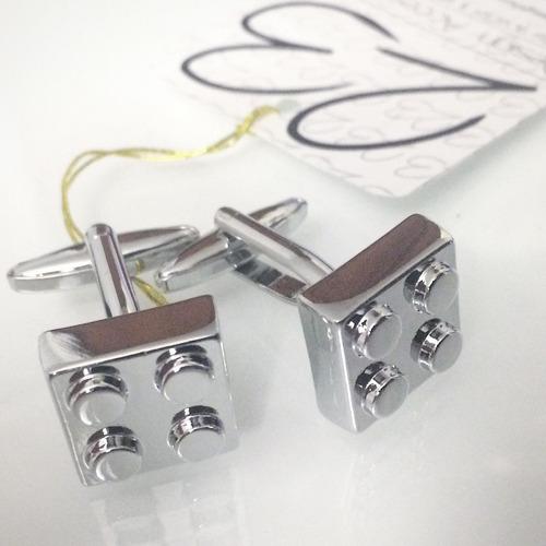 Juego de mancornas gemelos de lego color plata esmaltado - Juegos de gemelos ...