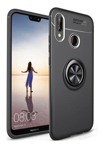 Estuche Ring Case Protector Lujo Funda Huawei P20 Lite Negr