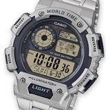 Reloj Casio  Ae-1400whd Acero Hora Mundial  100% Original