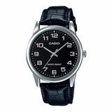 Reloj Casio Hombre  Mtp-v001l-1b Análogo Pulso Cuero