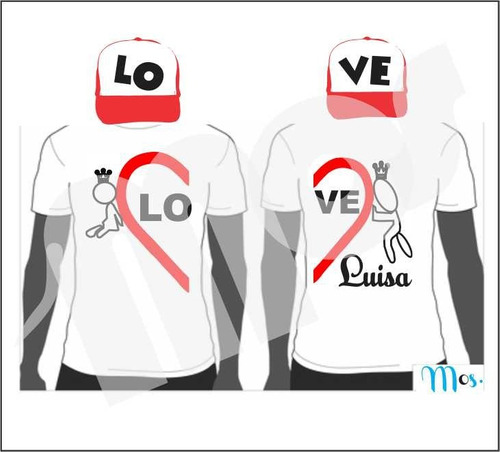 Camisetas Pareja Amor Y Amistad Personalizada Gorras Novios f44adcc9ec6