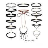 Gargantillas Set (15 Unds)choker Collar  Accesorios De Mujer