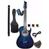 Guitarra Electroacustica Afinador Forro  Correa Puas
