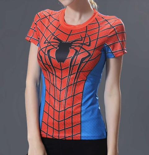 8b4f613048725 Camiseta Mujer Spiderman Rojo Gym Lycra Spandex Marvel Comic