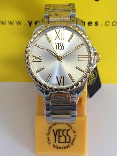 21280b76d7ec Reloj Yess Dama Sm7041 Color Plateado Con Dorado