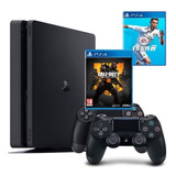 Playstation 4 Slim 2 Controles + Fifa 19 + Call Of Duty Bo4