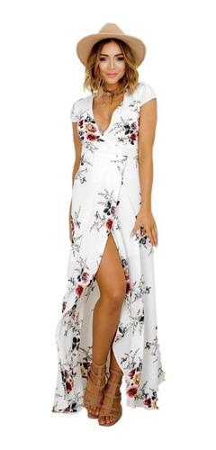 5a4f2e9e3 Vestido Largo De Fiesta Blanco Con Flores Vestido Elegante