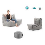 Sala Puff Lona Sofa + Silla + Obsequio Biny Martin
