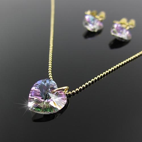 b27603243e26 Juego Cadena Corazon Swarovski Collares Aretes Mujer Oro Gf
