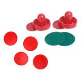 6 Piezas De Air Hockey Pucks Rojos + 2 Empujadores De