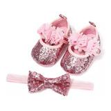 Combo Zapatos + Balaca Rosa Formal Bebé Niña