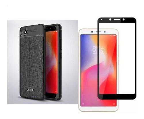 Kit Protector Tpu Cuero Xiaomi Redmi 6 / 6a + Vidrio Negro