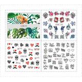 Stickers Tatuajes Decorar Uñas - Corazones, Letras, Flores