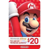 Nintendo Eshop 20 Usd - Usa Original