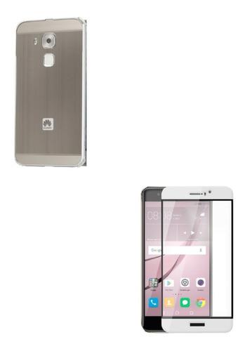 Kit Bumper Plateado + Vidrio 3d Blanco Huawei Nova Plus