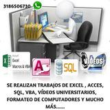 Se Hacen Trabajos De Excel, Acces, Sql, Vba, Java
