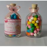 Botellas 50ml Dulces Colores Moño Personalizada Recordatorio
