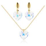 Collares Aretes Corazon Swarovski Cristal Cadena Oro G Mujer