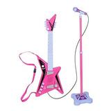 Guitarra Mas Microfono Musical  Rosada Mas Obsequio