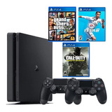 Playstation 4 + 2 Controles + Fifa 19 + Gta V + Call Of Duty