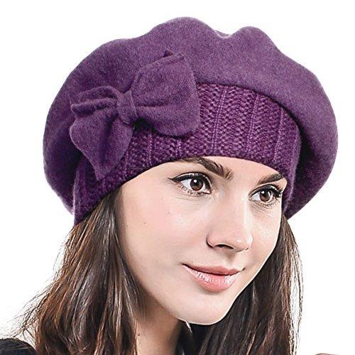 F n Story Boina De Invierno Francesa Lana Para Mujer Purpura 6af7e7c91ec