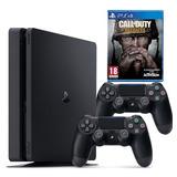Playstation 4 Slim 1tb + 2 Controles + Call Of Duty Ww2