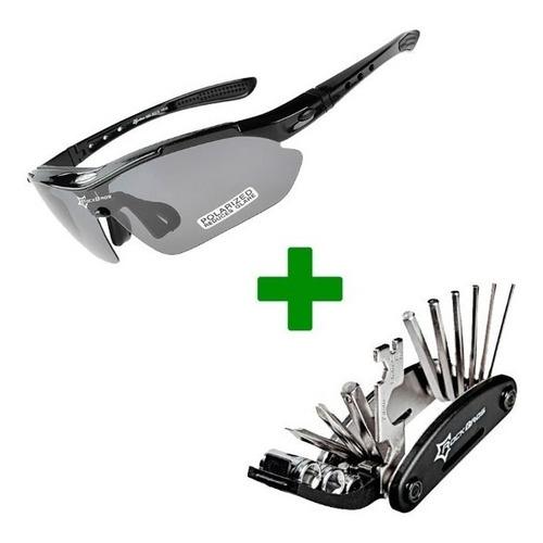 35ea54a70 Gafas Ciclismo Rockbros 5 Lentes Protección Uv + Kit Herrami