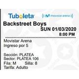 Boleta Concierto Back Street Boys 1 Marzo