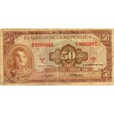 Billete De Cincuenta Pesos De Colombia,del 67.