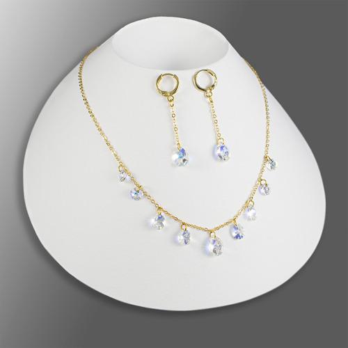 dc9cad58bb11 Collares Mujer Aretes Pulsera Cristal Swarovski Cadena Oro G