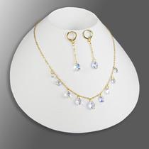 5fe09c65a260 Juego Collares Mujer Aretes Pulsera Swarovski Cadena Oro Gf