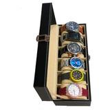 Caja Organizadora De 6 Relojes ,en Cuero Espacios Amplios