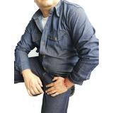 Camisa Jean Dotacion Algodon Trabajo Indigo Clasico Rigido