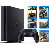 Consola Playstation 4 Slim De 1tb +5 Juegos Físicos Nueva.