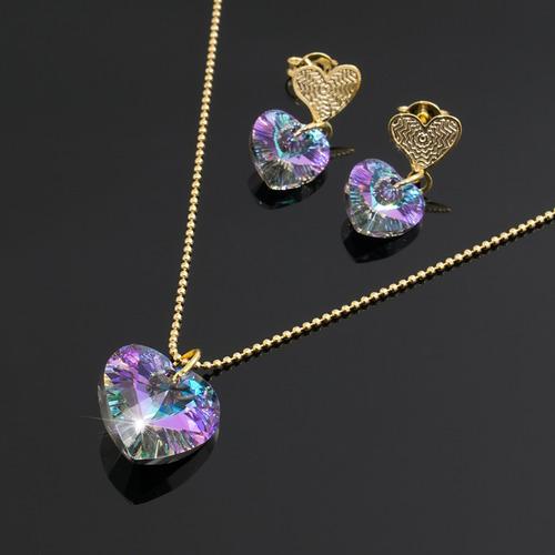 d2f8ef5e12d6 Collar Aretes Mujer Swarovski Vitral Ligth Cadena Oro Gf