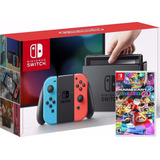 Nintendo Switch Neon + Mario Kart 8 Delux + Estuche