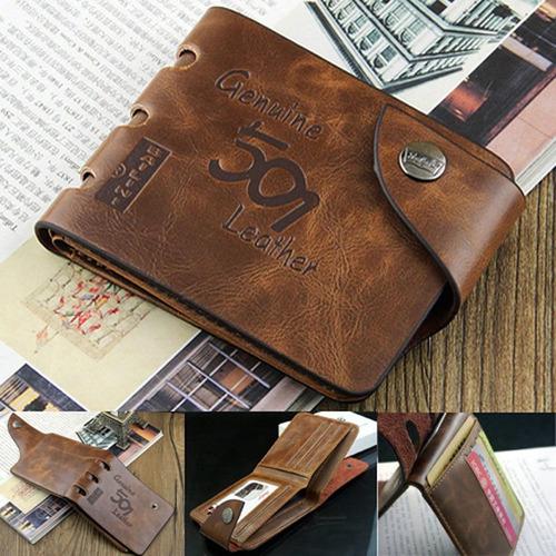 93d116350 Billetera Para Hombre Cuero Bifold Cartera Crédito Tarjeta