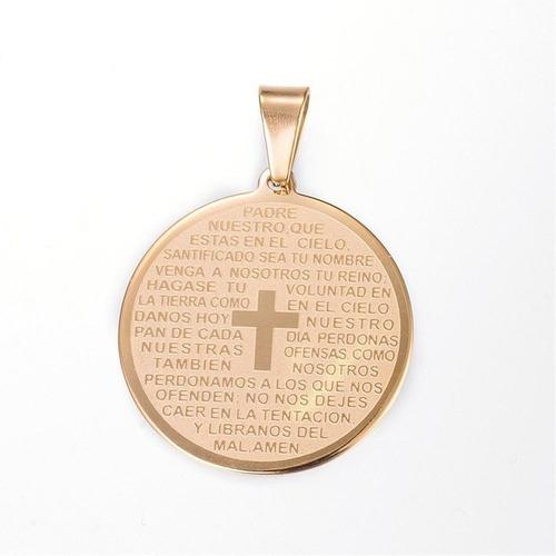 9cabb8eaacb6 Dije Medalla Padre Nuestro Cruz Acero Inoxidable Mujer Hombr