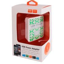 Cargador 110v A 4 Puertos Usb Para Cell Tablet Smarphone Mp4