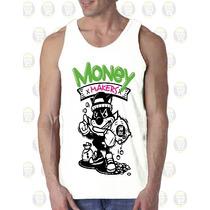Camisilla Hombre Esqueleto Algodon Diseño : Gato Money Maker