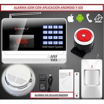 Alarma Gsm Locales,casas,fincas,con Sensor De Humo Celular