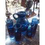 Jarra Y Vasos Antiguos En Cristal Azul X 5 Piezas